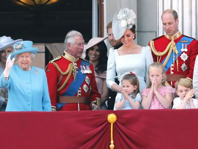 British royal family members at Trooping the Colour 2018