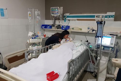His fiancee Tam Matthews has been by his side in hospital.