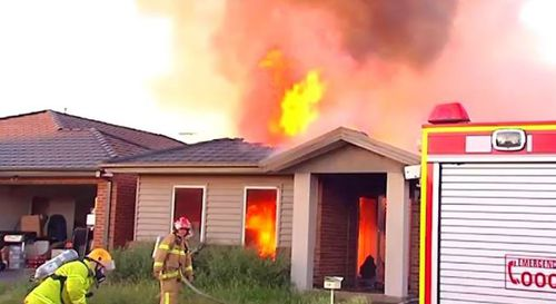 A family, including a baby, have escaped a ferocious fire that tore apart their Melbourne home.