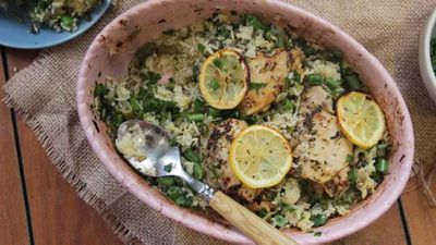 "Recipe:&nbsp;<a href=""http://kitchen.nine.com.au/2017/03/15/13/37/i-quit-sugars-one-pan-greek-lemon-chicken-and-rice"" target=""_top"">One-pan Greek lemon chicken and rice</a>"