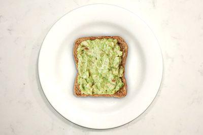 Avocado on toast: 157 calories