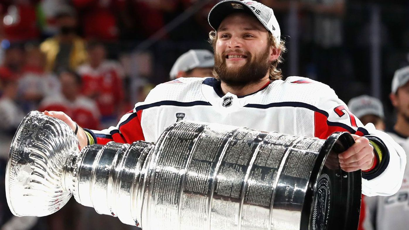 Nathan Walker celebrates winning the Stanley Cup