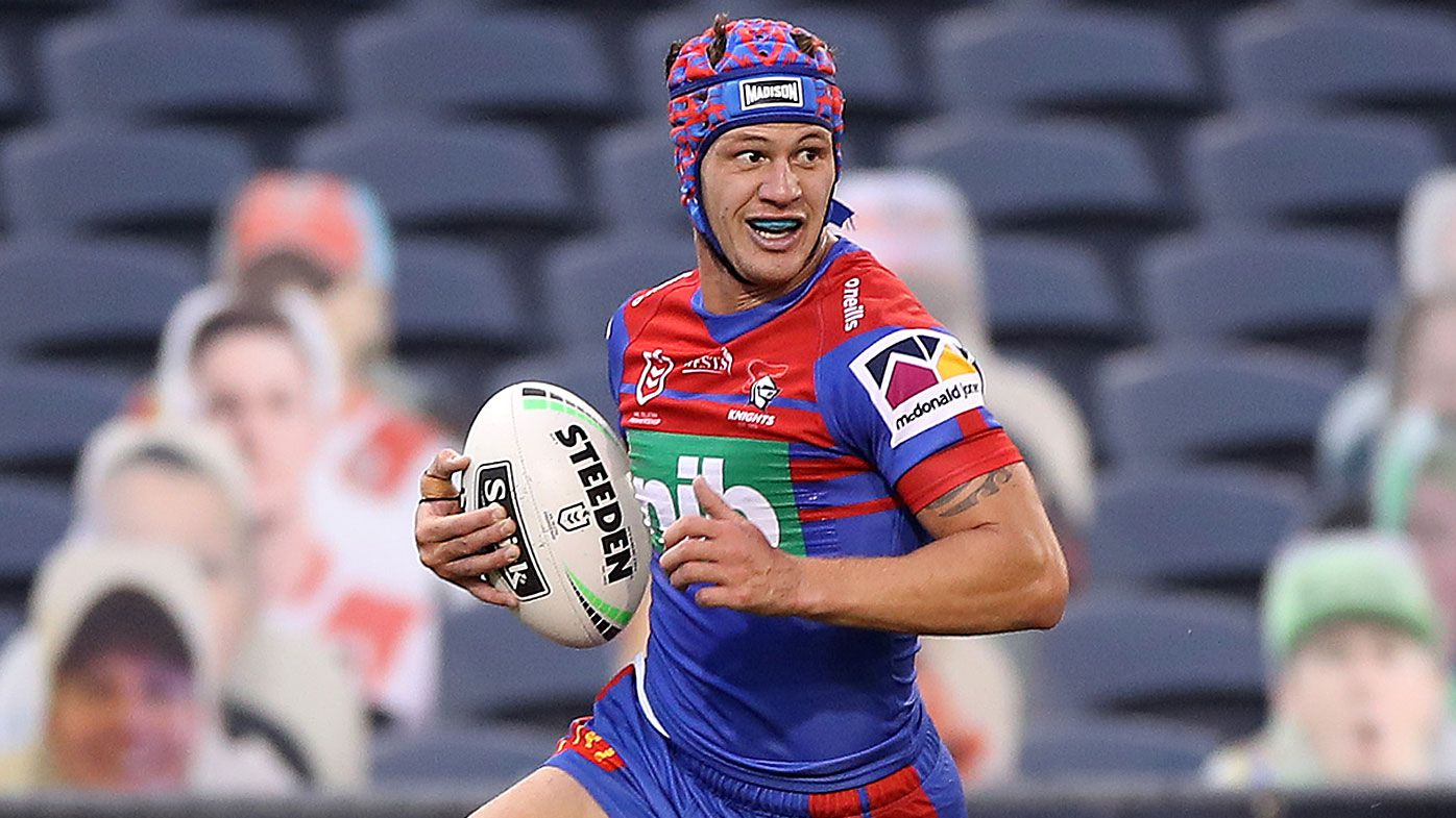 Kalyn Ponga of the Knights scores a try