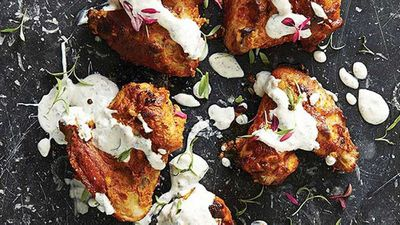 "Recipe: <a href=""http://kitchen.nine.com.au/2016/05/05/11/37/tandoori-chicken-wings-with-yoghurt-dipping-sauce"" target=""_top"">Tandoori chicken wings with yogurt dipping sauce</a>"