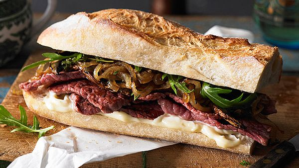 Gourmet silverside steak sandwich with caramelised onions