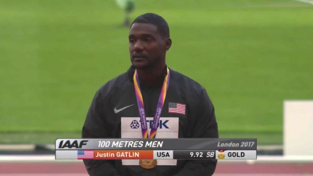 Gatlin booed again during medal ceremony