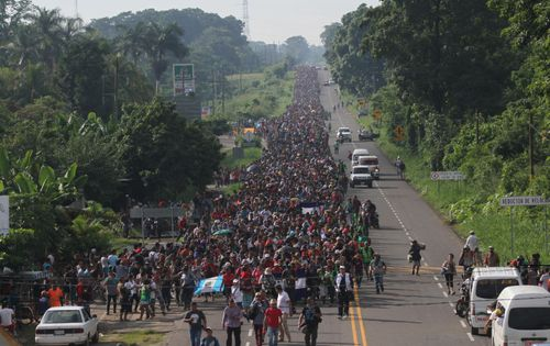 Honduran migrants continue their way to the city of Tapachula in Mexico, a journey bound to their goal, the United States.
