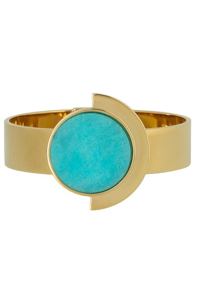 """<a href=""""https://www.myer.com.au/shop/mystore/fashion-jewellery/peter-lang--bl4596-firenze-champagne---turquoise-spring-hinge-cuff"""" target=""""_blank"""">Peter Lang Firenze Champagne &amp; Turquoise Spring Hinge Cuff, $139</a>"""