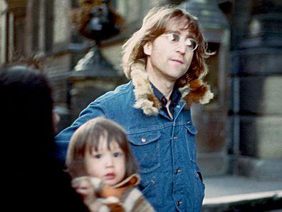 Sean Lennon and John Lennon in 1977