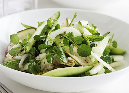 Cucumber, mint and watercress salad with mustard seed dressing (pictured with Sage-roasted potatoes)