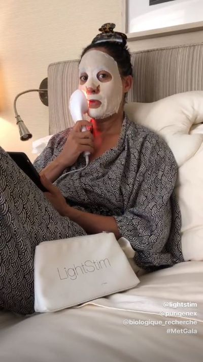 Tracee Ellis Ross starts her Met prep with a little light therapy