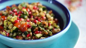 Gavurdag spoon salad of chopped tomato, walnut and sumac