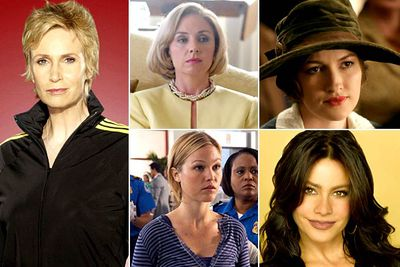 Jane Lynch — <I>Glee</I><br/>Hope Davis — <I>The Special Relationship</I><br/>Kelly MacDonald — <I>Boardwalk Empire</I><br/>Julia Stiles — <I>Dexter</I><br/>Sofia Vergara — <I>Modern Family</I><br/><br/><b>TVFIX prediction:</b> This is such a bizarre category — the actresses are so diverse it's impossible to really compare them. TVFIX hopes Julia Stiles takes it out — her turn in <i>Dexter</i> has been amazing.