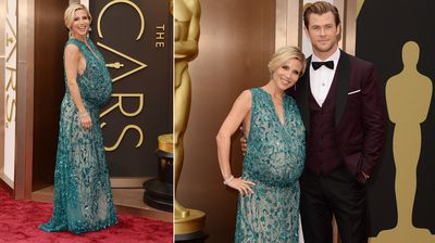Former 'Home and Away' star Chris Hemsworth and his pregnant wife Elsa Pataky show some love on the red carpet.