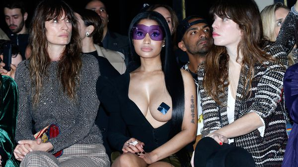 Nicki Minaj front row at Haider Ackermann at Paris Fashion Week. Image: Getty