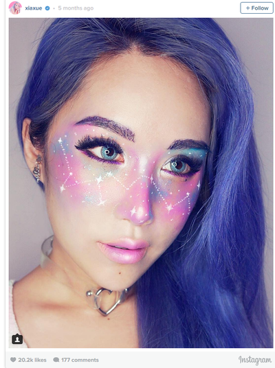 <p>A makeup artist posted an image of a woman sporting white freckles and someone noted they looked a little like stars ... within days other makeup artist had taken the constellation concept further and we were hit with intergalactic makeup. Yes, it was #galaxy.</p> <p>Okay, so it's cool in a mesmerising, arty way. Do we ever want to see anyone wearing it out in public? Um ... no thank you.</p> <p>Image: Instagram/@xiaxue</p>