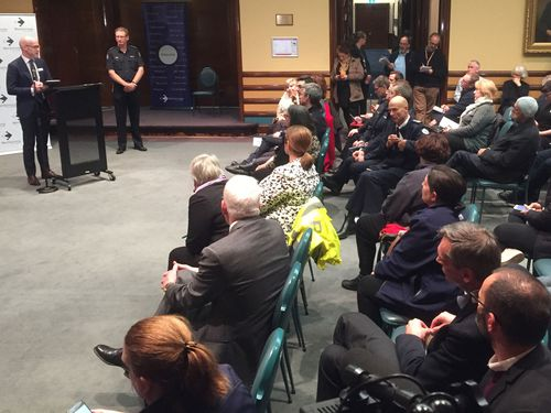 Locals attended a meeting to get information on the fire at Tottenham, Melbourne.