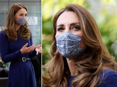 Kate Middleton Style News Kate Middleton Spotted In A Blue Long Sleeve Midi Dress And Matching Floral Face Mask