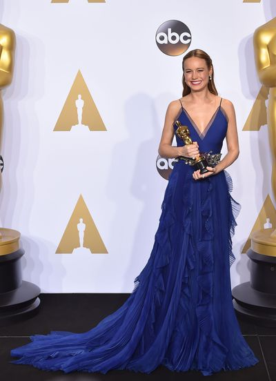<p>Brie Larson in Gucci.</p> <p>Don't go looking for this dress on the runway or on the racks at Gucci. Creative director Alessandro Michele custom-made this for Brie's big night.</p>
