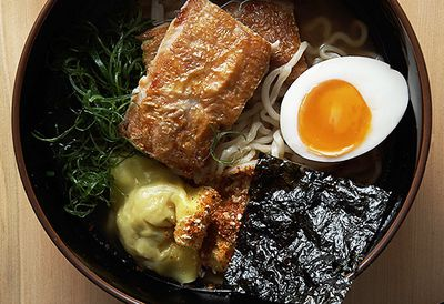 Ramen with chicken and soy eggs