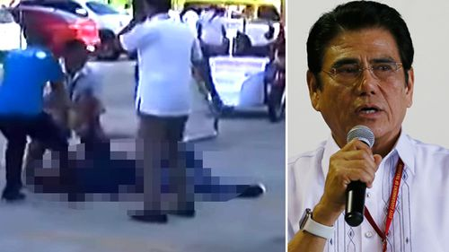 In this image made from video, Philippines Mayor Antonio Halili is seen on the ground after being shot during a flag-raising ceremony, Monday, July 2, 2018, in Tanauan city, south of Manila, Philippines. (AAP)