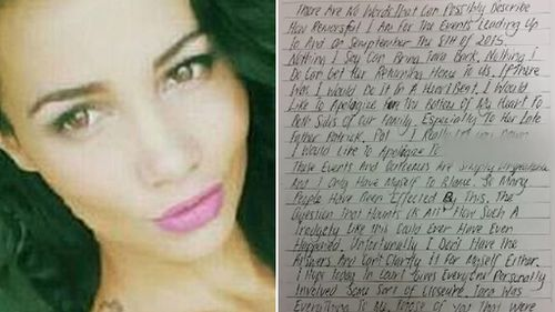 Patea penned a letter of remorse to Ms Brown's family.