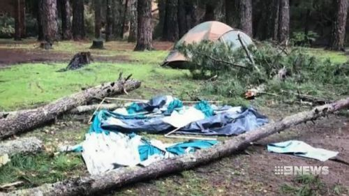 A tree fell down on the tent during strong winds and heavy rain.