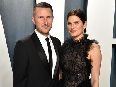 Scott Campbell, Lake Bell, 2020 Vanity Fair Oscar Party, Beverly Hills, California