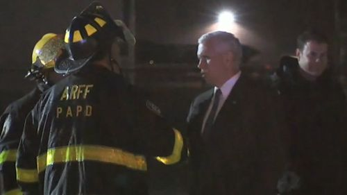Emergency crews rushed to the scene to check on 37 passengers including the VP candidate.