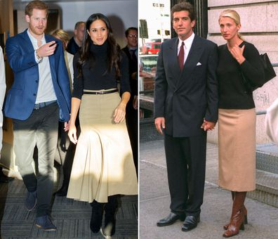 Meghan Markle in 2017; Carolyn Bessette Kennedy in 1996.