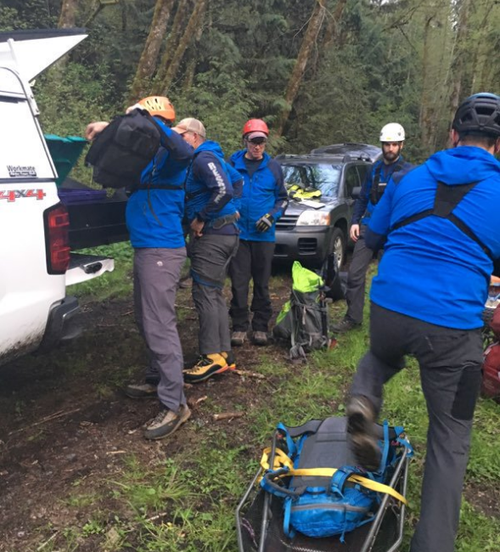 Rescuers climbed through dense bush until they heard a dog barking, leading them to discover the missing man's body.
