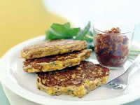 Corn Fritters With Roasted Tomato Chilli Jam