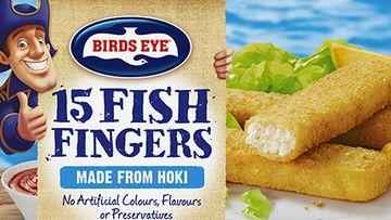 Birds Eye fish fingers packaging.