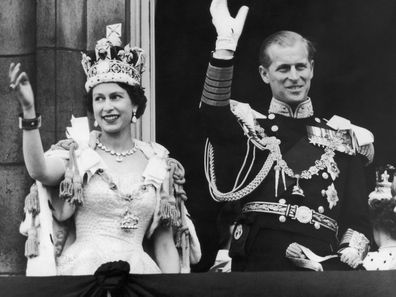 Queen Elizabeth and Prince Philip on the day of Her Majesty's coronation.