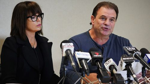 CFMMEU Secretary John Setka and his wife Emma Walters speak to the media during a press conference at the Electrical Trades Union building in Melbourne.