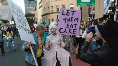 A protester dressed as the Marie Antoinette (Nicholas McCallum)