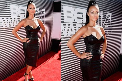 Raunchy! The <i>Basketball Wives: LA</I> star wriggles into racy leather... making her a bondage babe on the red carpet.