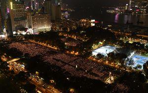 Hong Kong police block Tiananmen Square candlelit vigil