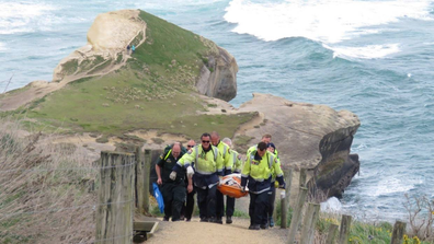 A German tourist was rescued after falling at Dunedin's Tunnel Beach in 2018.