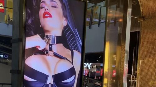The bondage advertisement shown in the Broadway Shopping Centre in Sydney.