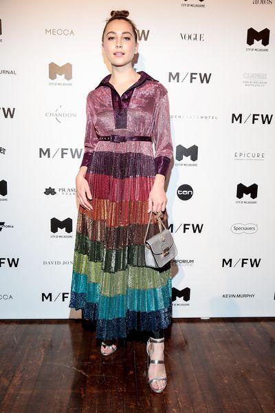 Actress Mavournee Hazel at Melbourne Fashion Week September 2018