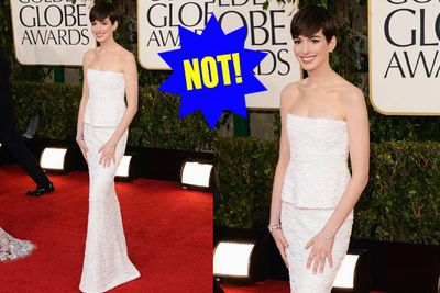 Bland Hathaway! Unshapely wedding dresses are so OUT this season.