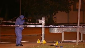 Crime scene where teenager was stabbed to death in a car park in Brisbane.