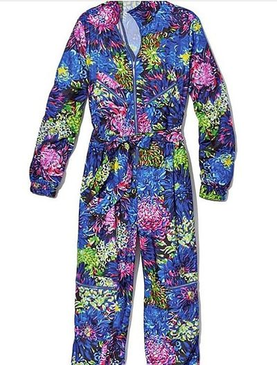 The tropical-print boiler suit featured in the new <em>VS Loves Mary Katrantzou</em>collection.