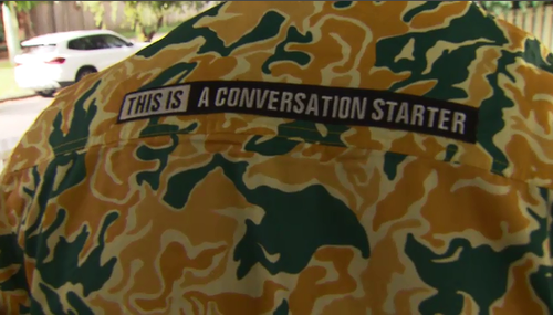 They hope the loud shirts will help spark conversations between tradies and mates wearing them.