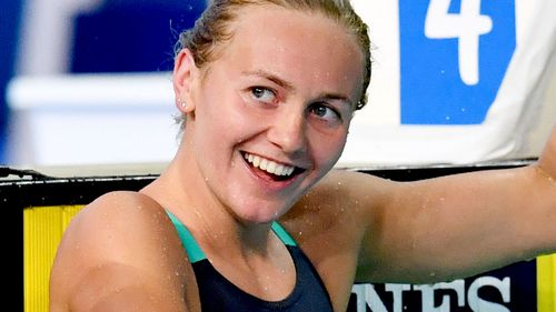 Titmus reacts after winning the women's 400m freestyle final. (AAP)