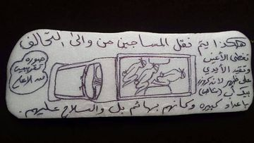 "This undated photo obtained by The Associated Press shows a drawing of prisoners being transported in a pickup truck to an Emirati-run prison in Yemen. The Arabic reads: ""This is how they transport the prisoners from and to the coalition. Blindfolded and handcuffed in the back of a Land Cruiser pickup in large numbers as if they are animals and under gunpoint."" (AP Photo)"