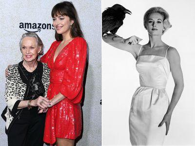(Left) Dakota Johnson's grandmother Tippi Hedren steals spotlight at premiere. (Right) Tippi Hedren poses for a promotional shot for 1963 film <em>The Birds.</em>