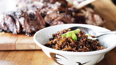 "Recipe: <a href=""http://kitchen.nine.com.au/2017/10/27/14/52/jeremy-cheok-black-angus-ribeye-with-heart-attack-fried-rice"" target=""_top"">Jeremy Cheok's black Angus ribeye with 'heart attack' fried rice</a>"
