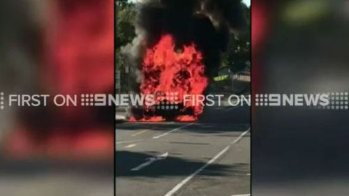 The flames began just before 8am. (9NEWS)